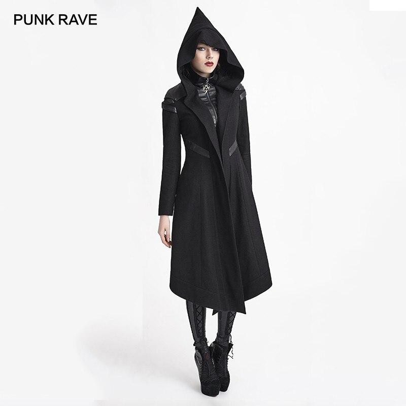 Панк рейв для женщин Готический с капюшоном черный легкое длинное пальто зима Хэллоуин сцены клуб ведьма верхняя одежда шерстяные пальт