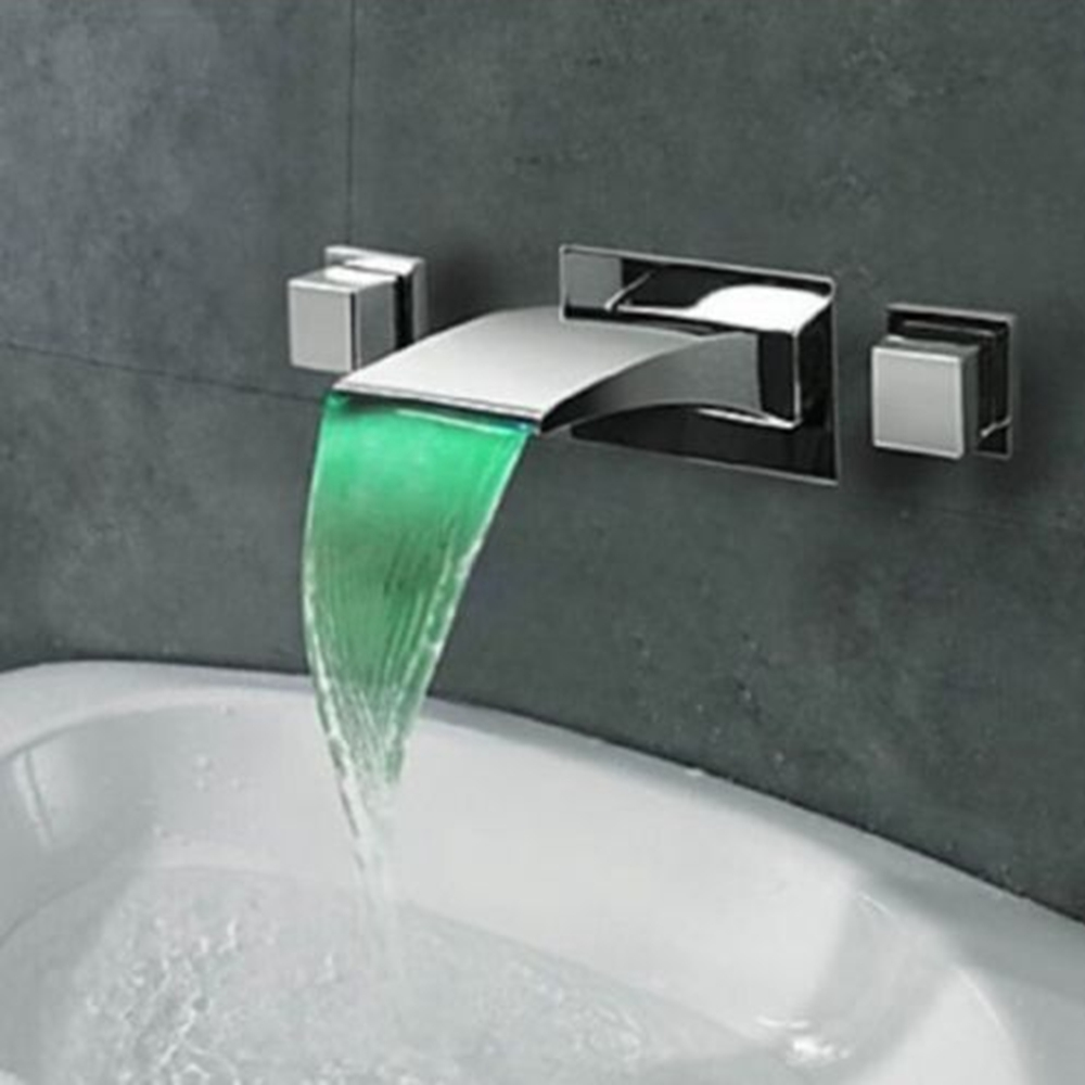Uythner LED Chrome Brass Waterfall Bathroom Basin Faucet Tub Mixer Tap Wall Mounted NEW