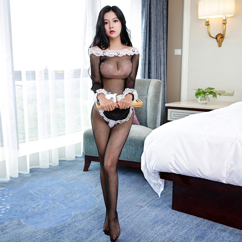 Sexy Erotic Sexy French Maid Dress Women Fishnet Open Crotch Bodysuit Apron Sex Costume Maid Cosplay Erotic Costume Porno NW0117