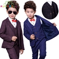 Children Baby Boys Formal Suit Jackets+Vest+Pants 3pcs Gentlemen Handsome Clothes Set Blazers Suits For Weddings Suit B011