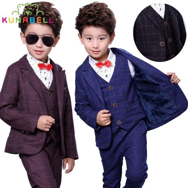 Niños niños Bebés Chaquetas de Traje Formal + Vest + Pants 3 unids Caballeros Guapos Ropa Blazers Trajes Para Bodas traje B011