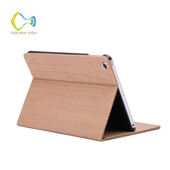 Cover for iPad 2018 case PU Leather Natural wood grain Ultra Slim Smart Flip holder stand Case for tablet gadget A1893 A1823 gadget