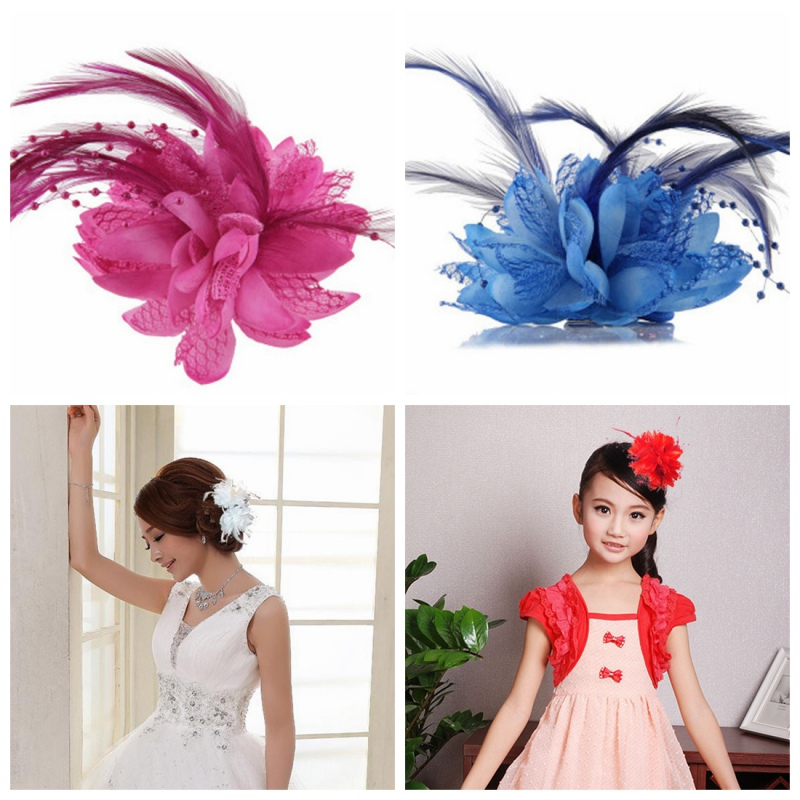 2016 8 Colors Flower Feather Bead Corsage Hair Clips Fascinator Bridal Hairband Party  2016 trendy fabric blooming peony flower corsage brooch woman hair decorations