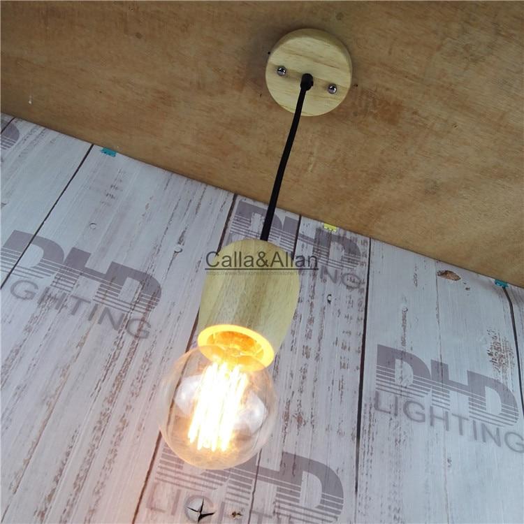 Wood light fabric cable Unique American Style edison pendant Light,Vintage wood canopy Decoration Pendant Lamp E27/E26 110V/220V esspero canopy