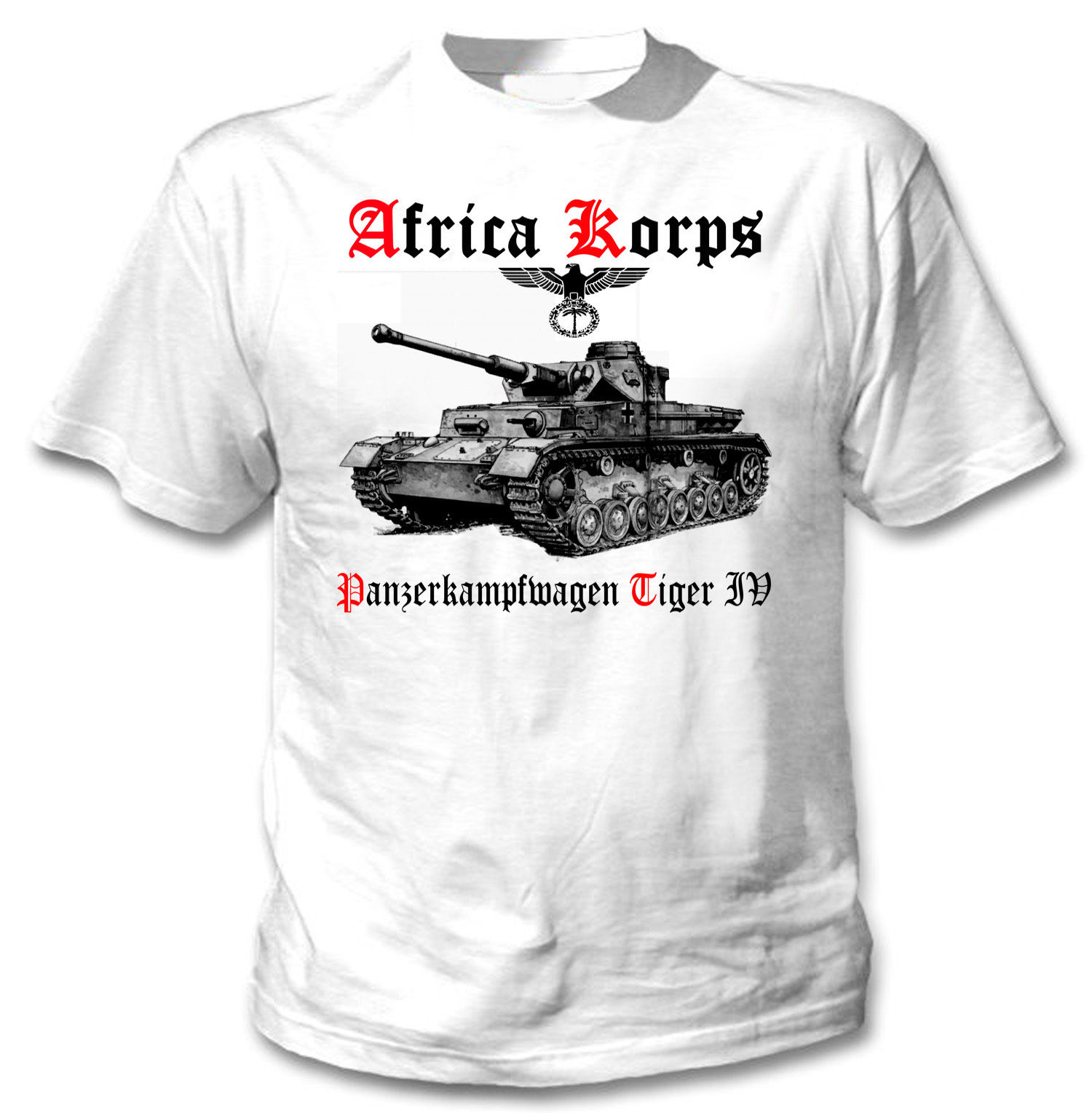 TIGER PANZER IV AFRICA KORPS WWII - NEW WHITE COTTON TSHIRT