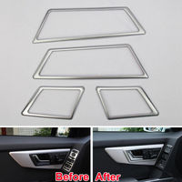 Interior Door Handle Cover Trim Chrome Decor Frame Car Styling Sticker For Mercedes Benz GLK300 GLK350 GLK260 Car Accessories