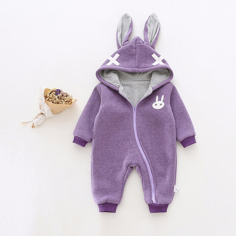 baby girl cross rabbit ear winter rompers (1)