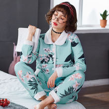 7504972c65 QoerliN Nursing Clothes Breastfeeding Autumn Winter Pregnant Women Quilted  Pajamas Cotton Long Sleeve Feeding Nightgown Plus Siz