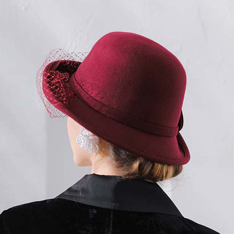7fcde91644a QPALCR Winter 100% Wool Felt Fedora Hat For Women Elegant Curl Brim Formal Fedoras  Flower