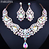 Wedding Jewelry KC Gold Plated Crystal Water Drop Necklace And Earring For Women Elegant Bridal Jewelry