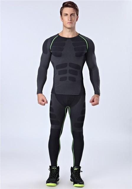 Allenamento Nuovi Uomini di Fitness Abbigliamento Da Palestra Quick Dry  Ranning Pantaloni Sport Set Per Uomo f2105a3bff0