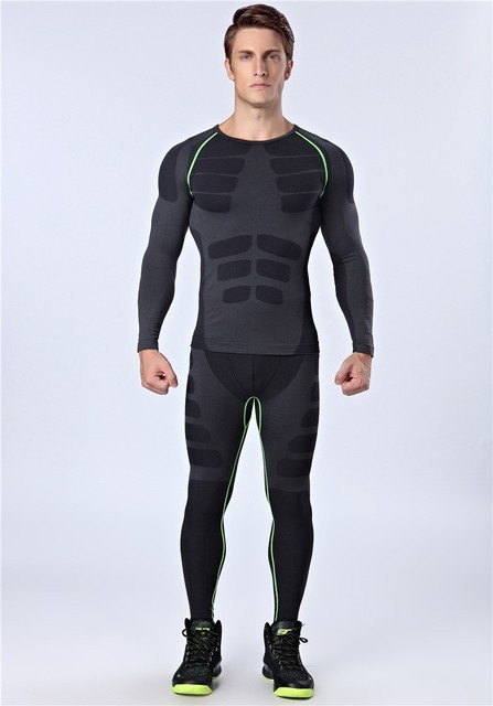 5795f8f2238 Workout New Fitness Men Gym Clothes Quick Dry Running Pants Sports Sets For  Man Long Sleeves Sportswear Black Tracksuit