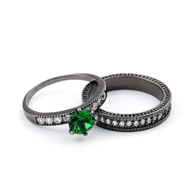 2018 Charming สีเขียวคริสตัล Zircon แหวนชุด Vintage แหวนผู้ชายสีดำทองเครื่องประดับวาเลนไทน์วัน