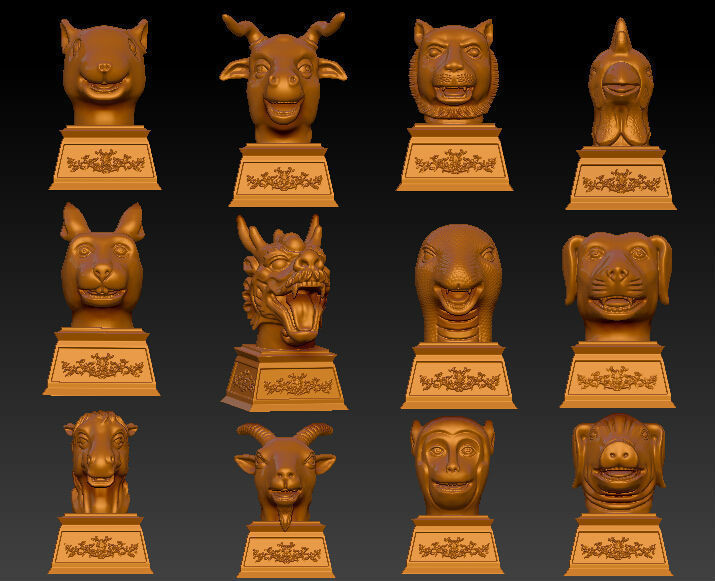 3D model for cnc 3D carved figure sculpture machine in STL file format Western culture, The old Summer Palace Chinese zodiac cnc panno face 1 in stl file format 3d model relief for