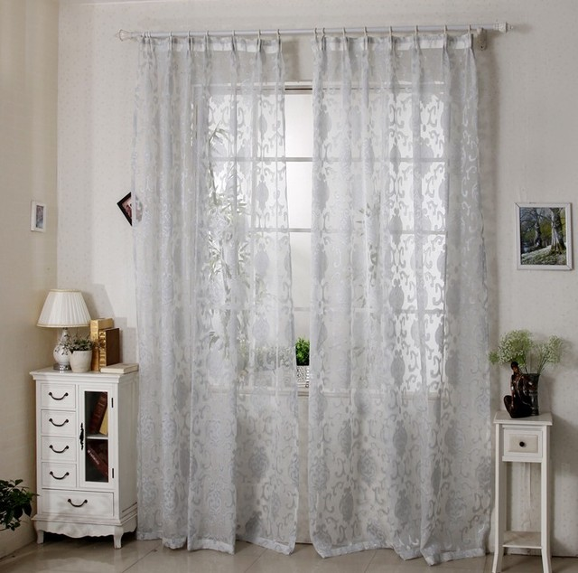 Curtains bedroom living room jacquard voile french window curtains ...