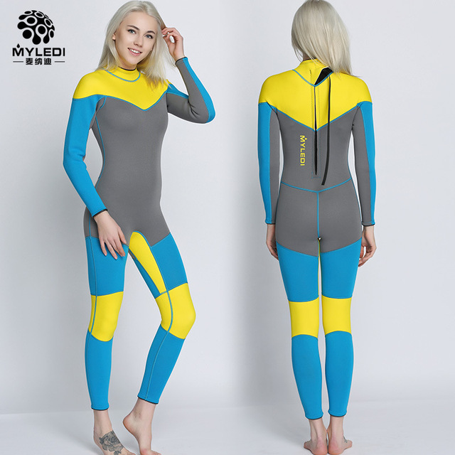 3da8d5afe1 US $71.07 34% OFF|Easy Breath 3mm Neoprene Surfing Spearfishing Diving Suit  women Wetsuits With Long Sleeve Swimwear Scuba One Piece Swimsuit set-in ...