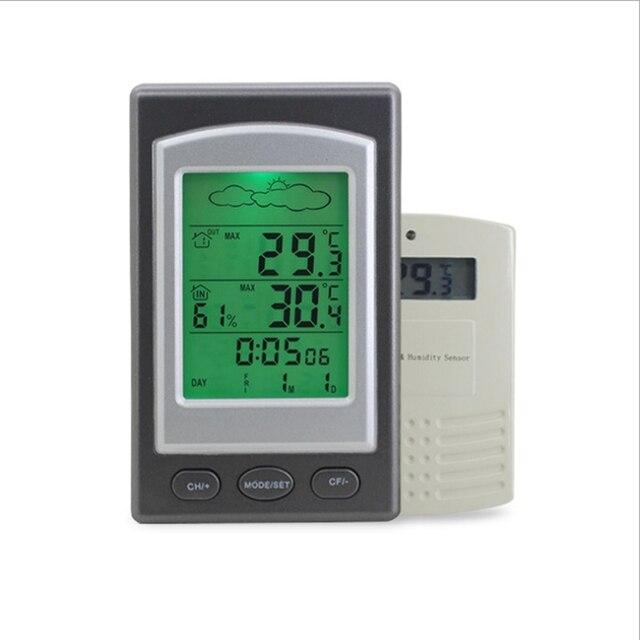 521cbdc0b Wireless Home Stazione Meteo Indoor Outdoor Digital LED Termometro  Igrometro Barometro Sveglia Sensore di Temperatura Meter