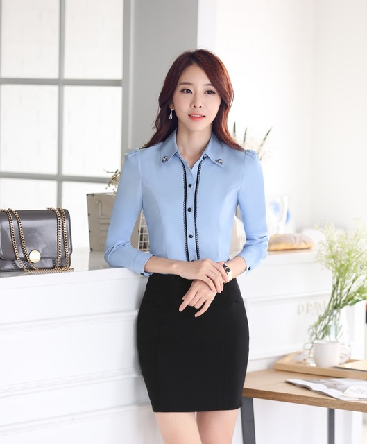 Novelty Blue Uniform Style Slim Fashion 2015 Spring Autumn Business Women Work Suits With Blouse And Skirt Ladies Office Shirts
