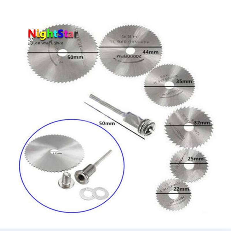 7pcs Metal HSS Circular Saw Blade Woodworking Cutter Discs Wood Cutting For Dremel Rotary Tool Mandrel Set omy 6pcs set mini circular saw blade woodworking cutting discs drill for rotary tools dremel metal cutter power tool mandrel set