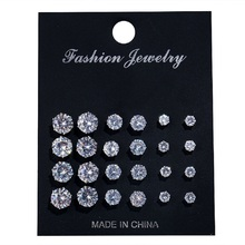 2019 Rushed Alloy Women Classic Earings Brinco New Arrival Stud Earrings Set Six Claw Crystal Zircon 12 Pairs/set