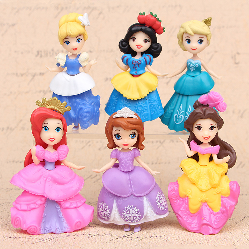 6 Pcs/set Princess Snow White Cinderella Action Figures Toys Cute Q-version 9cm PVC Statue Anime Collectible Dolls Kids Gift 6pcs set disney trolls dolls action figures toys popular anime cartoon the good luck trolls dolls pvc toys for children gift