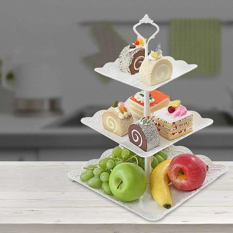 3 Tier תצוגת הקאפקייקס קינוח מגדל פירות מגש לחתונה מסיבת יום הולדת קישוט ממתק קינוח