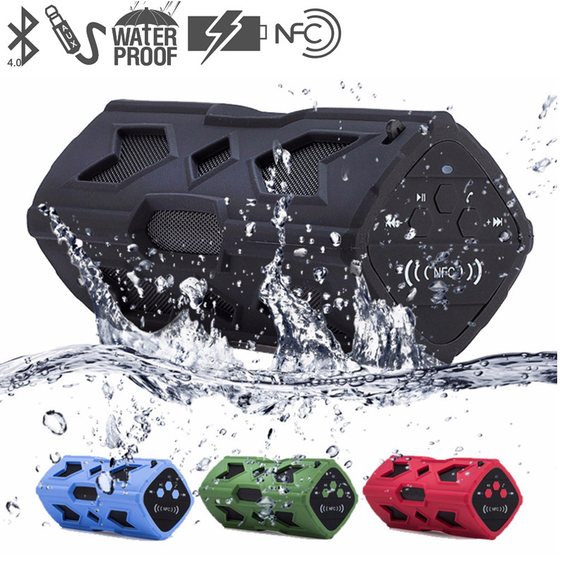 Wireless Bluetooth Speaker NFC Portable Column Waterproof Subwoofer 10W Music Sound Box Support FM Radio TF Card With Power Bank