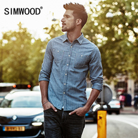 SIMWOOD Striped Shirt Men 2017 Autumn New Denim Casual Shirts Long Sleeve Imported Clothing Slim Fit