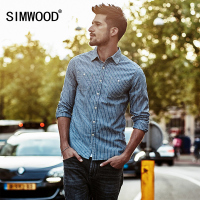 SIMWOOD Striped Shirt Men 2019 spring New Casual Shirts Long Sleeve Imported clothing Slim Fit Plus Size CC017023