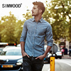SIMWOOD Striped Shirt Men 2017 Autumn New Denim Casual Shirts Long Sleeve Imported Clothing Slim Fit