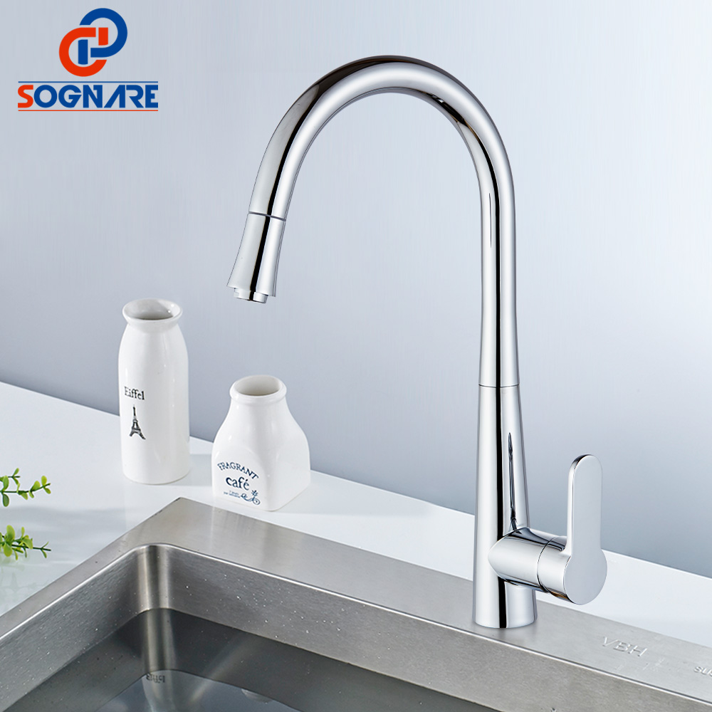 SOGNARE Pull Down Kitchen Faucet Mixer Cold and Hot Faucet Solid Brass Swivel Pull Out Chrome Brass Kitchen Faucet Spring Taps ydl f 0538 polished nickel finish solid brass spring pull out kitchen faucet antique silvery
