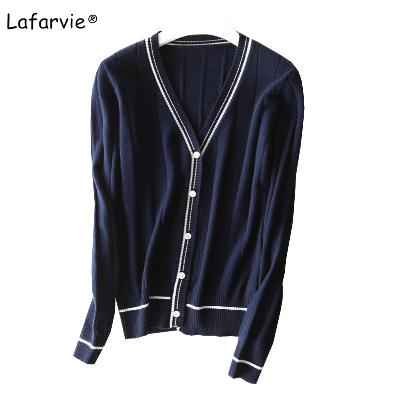 Lafarvie New V-neck Knitted Cashmere Blended Sweater Women Cardigan Spring Autumn Single Breasted Full Sleeve Striped Cardigan