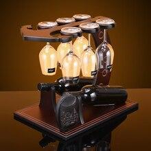 цена на Creative anchor  style wood wine rack European fashion bar wine rack wine glass holder