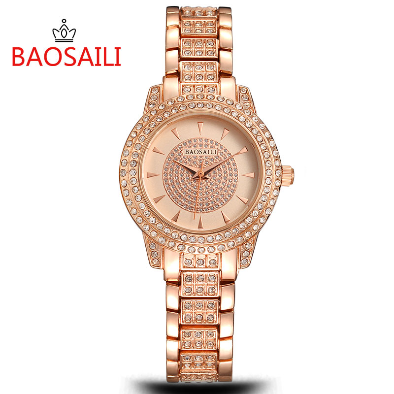 BAOSAILI Famous Brand Women Luxury Watches Ladies Rhinestones Wristwatches Women Gold Plated Analog Quartz Clock