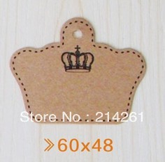 4.8x6CM crown shape craft paper tags , price tags for cloth ,tags for shoes, make your logo MOQ: 3000PCS ,0.03/PCS