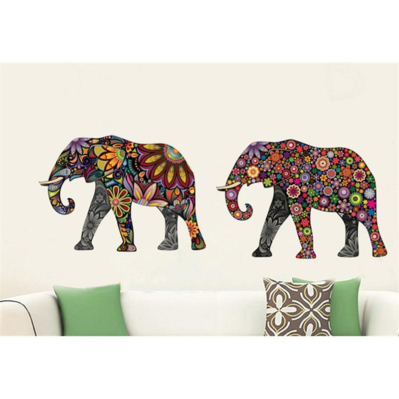 Elephant Flower pattern Wall Sticker Removable Decal Home Decor - Үйдің декоры - фото 5