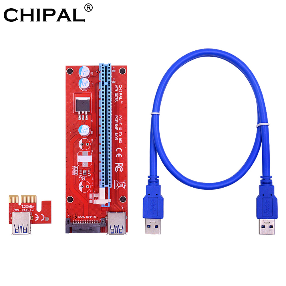 Lechnical VER007S 0.6M PCI-E 1X to 16X Riser Card Extender PCI Express Adapter USB 3.0 Cable 15Pin Professional SATA Power Supply for Bitcoin Mining Miner Machine Red