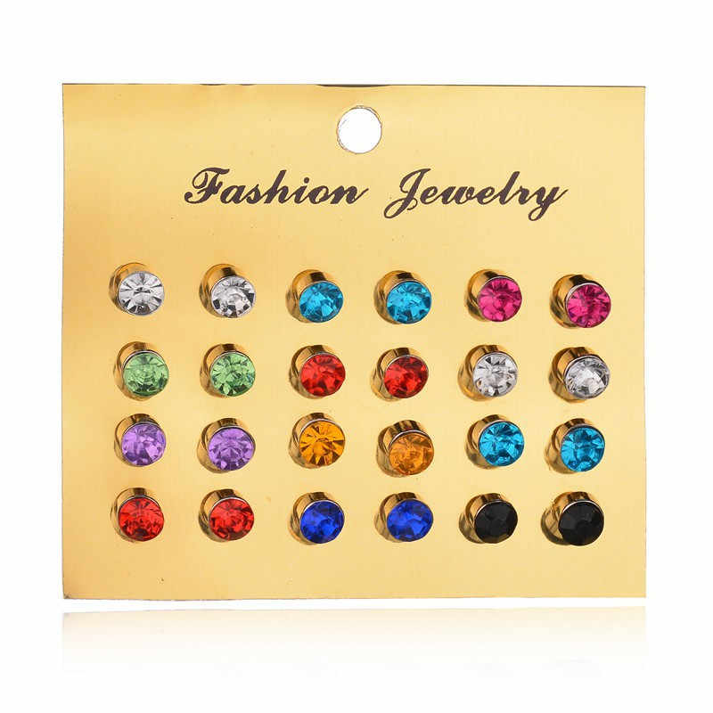 New 12 Pairs/set Colorful Crystal Earrings Piercing Gold Color Fashion Stud Earrings For Women Bijoux Wedding Jewelry Brincos