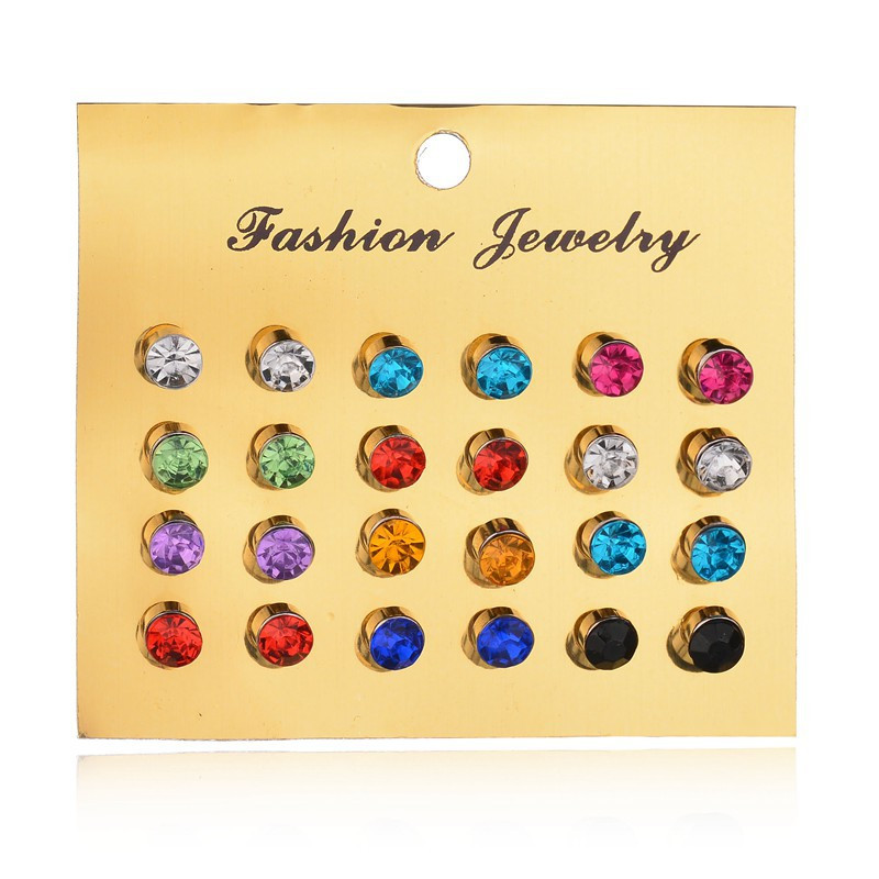 New 12 Pairs/set Colorful Crystal Earrings Piercing Gold Color Fashion Stud Earrings For Women Bijoux Wedding Jewelry Brincos gold earrings for women