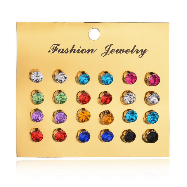 02077a0e7 New 12 Pairs/set Colorful Crystal Earrings Piercing Gold Color Fashion Stud  Earrings For Women Bijoux Wedding Jewelry Brincos