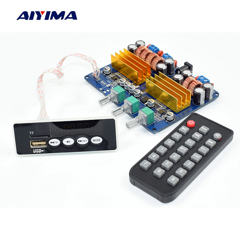 Aiyima New TPA3116 2.1 Bluetooth Audio Amplifier Board 50W*2+100W Subwoofer Amplifier Board Support FM AUX TF Card USB Decoding цены