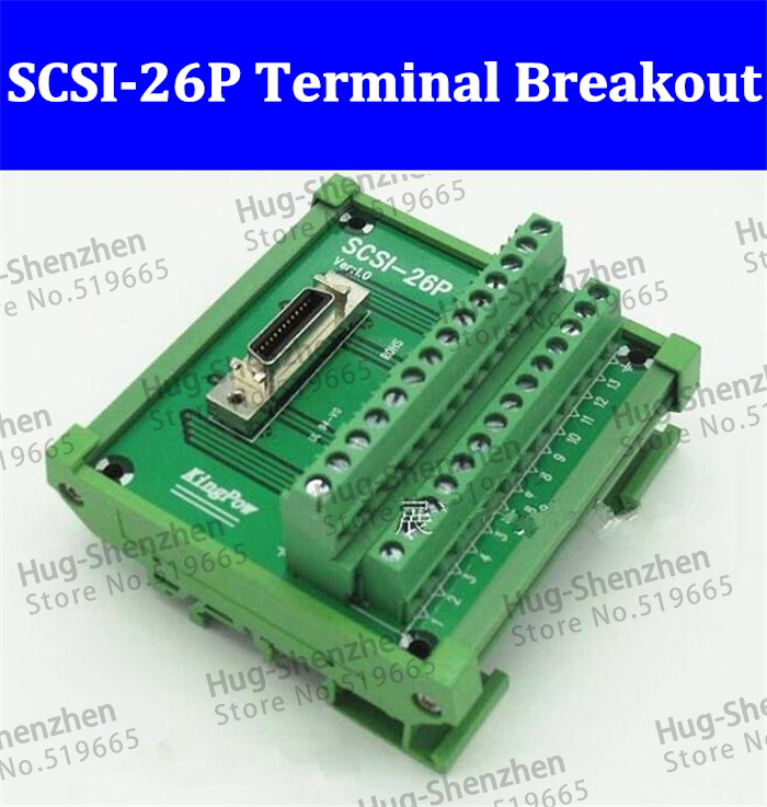 High quality SCSI 26P 26 Pin CN slot 180 degree acquisition card Terminal Block Breakout Board Adapter DIN Rail Mounting 5pcs