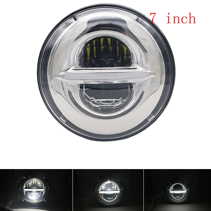 Pair 50W 7 LED H4 plug&play white halo Headlight lamp with DRL daymaker For Jeep Wrangler Lada Niva 4x4 Headlight JK TJ