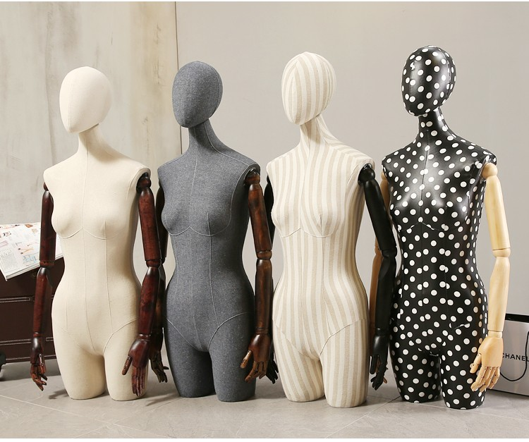 Props female half body mannequin cloth display rack high quality fashion mannequin women fabric mannequin with wooden arms (15)