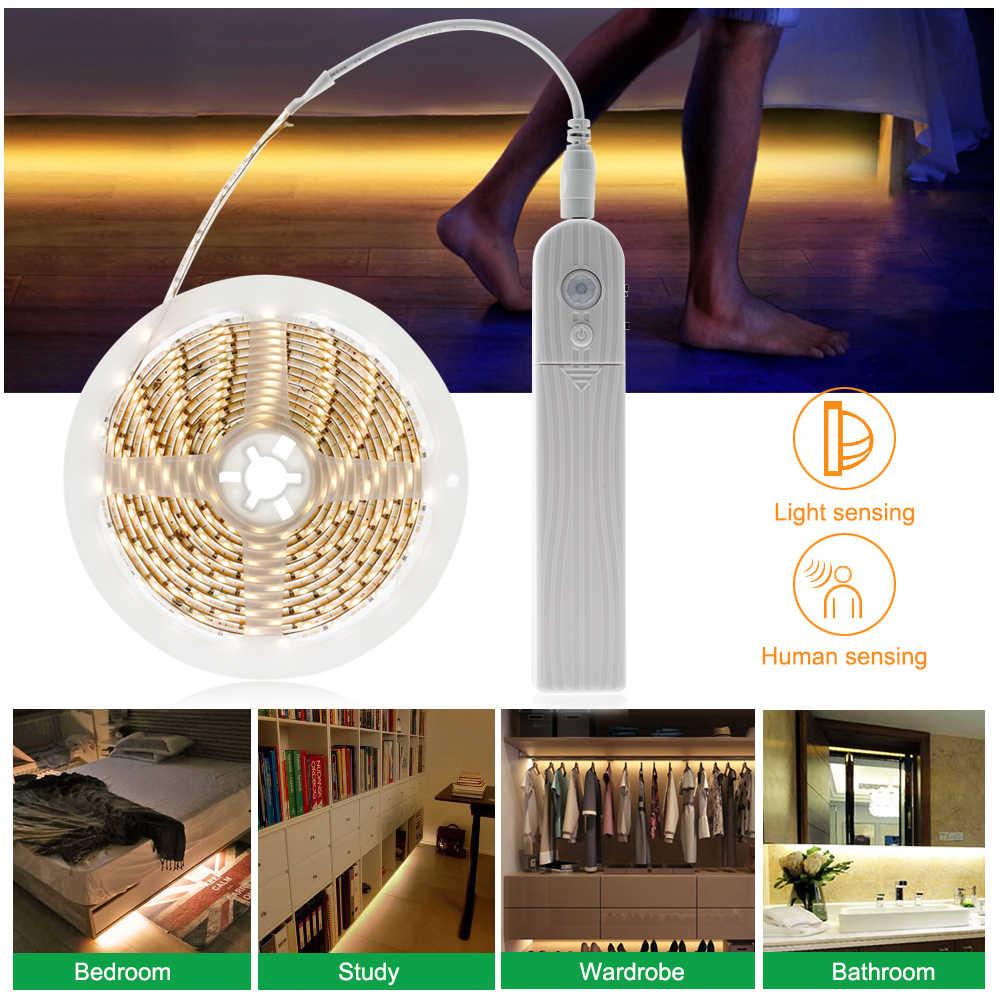 1 M 2 M 3M USB кабель с Беспроводной движения Сенсор Светодиодные ленты USB светодиодный ночник для шкаф для спальни для шкафов лестниц DC5V гибкий клейкая лента лампа