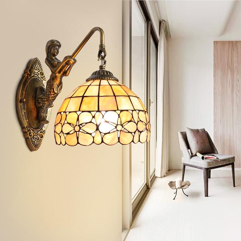 Tiffany European garden flower shell Mermaid wall lamp bedside stairways bathroom mirror lamp