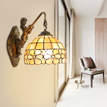 Tiffany European garden  flower shell Mermaid wall lamp bedside stairways  bathroom mirror lamp