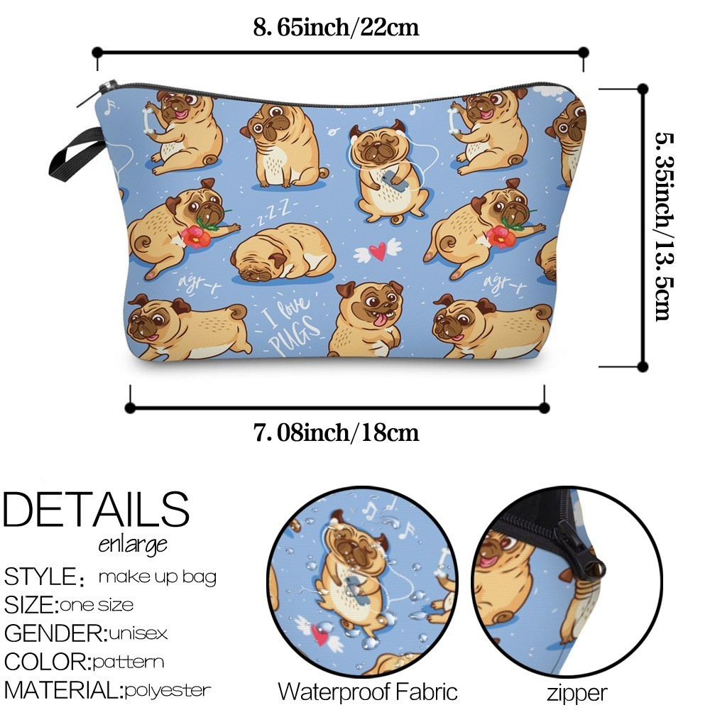 DeanfunCute PugCosmetic Bag Waterproof Printing High Quality Flower Cosmetics Bag Makeup Customize Style for Travel 51491  My Pet World Store