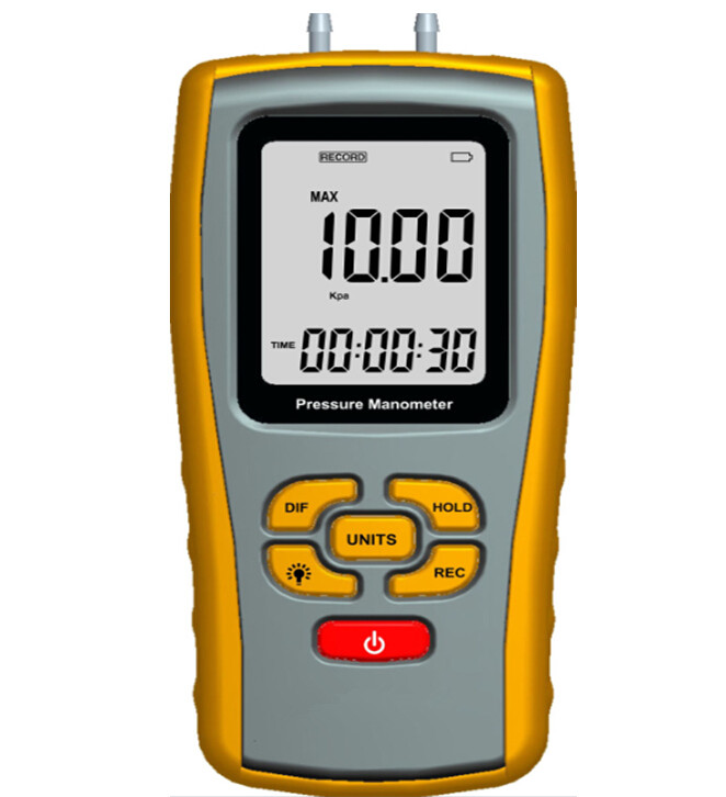 Precision Digital Manometer GM511 Measuring Range 10kPa Maximum Pressure 50kPa Differential Pressure Meter Gauge Manometer portable digital lcd display pressure manometer gm510 50kpa pressure differential manometer pressure gauge