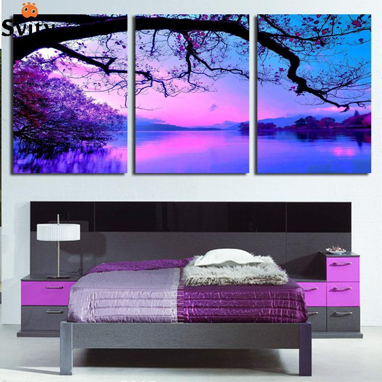 Aliexpress Com Buy Free Shipping 3 Piece Wall Decor: Free Shipping Canvas Painting Purple Cloud Scenery 3 Piece